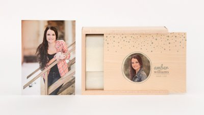 Wood Boxes Make your mark with an elegant Wood Box. Personalize the presentation with a printed image or etched design on the wooden, metal or acrylic lid. Available in 4x4, 4x6, 5x7 and 8x10 with the option to add on a USB and premium quality Prints.