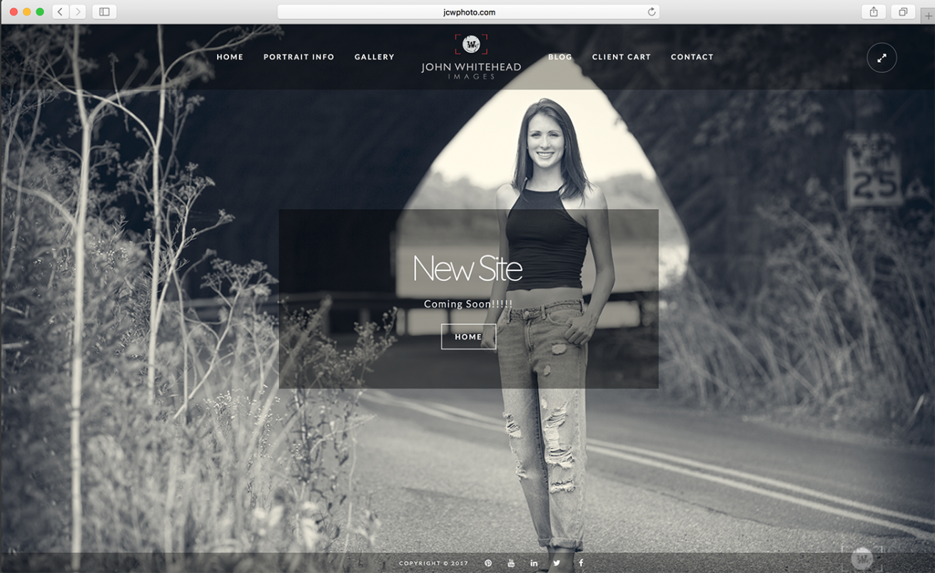 Screen capture of the John Whitehead Images website redesign.