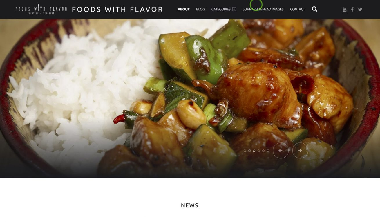 Foods with Flavor WordPress site.
