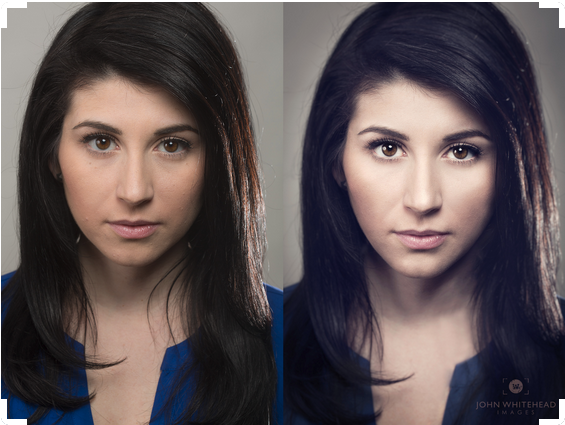 Before and after retouched head shot.