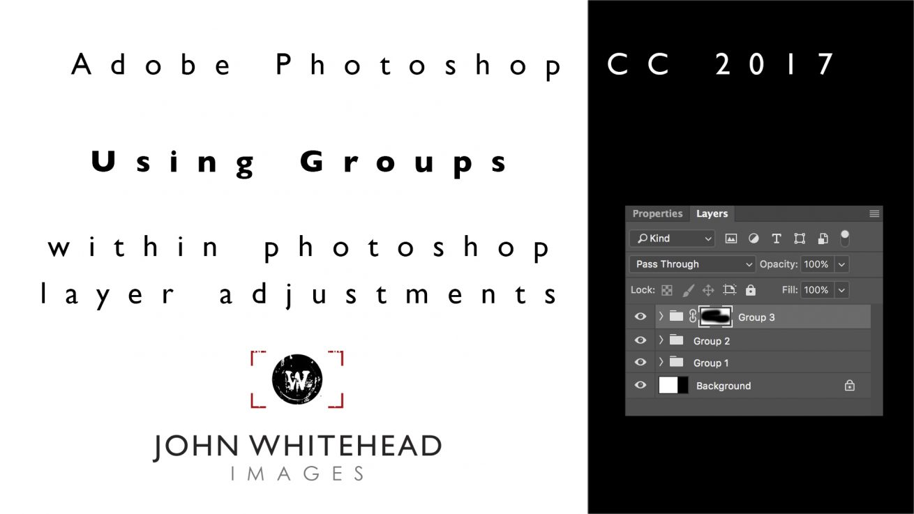 Using Groups on adjustment layers can be very helpful in organizing complex Adobe Photoshop documents.